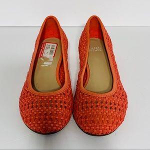 Eileen Fisher Shoes - Eileen Fisher Coral Leather Weave Flat Hidden Heel